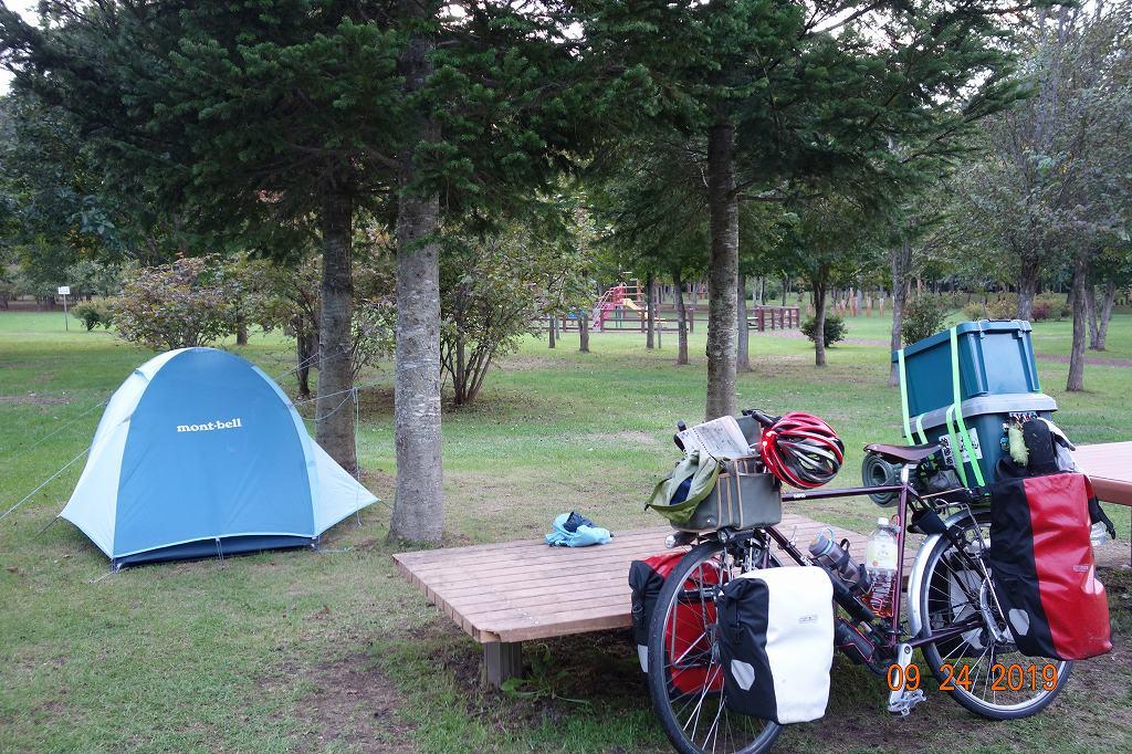 日本一周中の自転車とテント