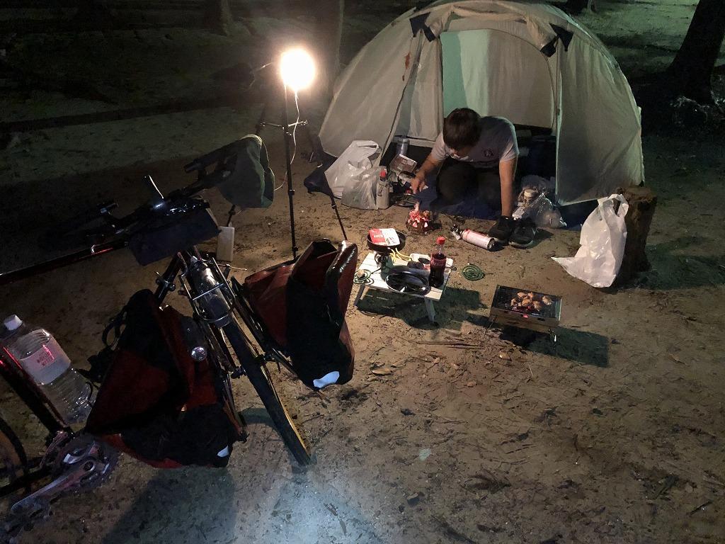自転車旅でキャンプ